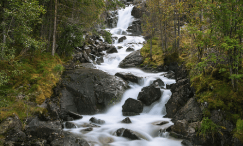 Stream down mountains