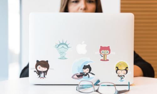 Git stickers on laptop
