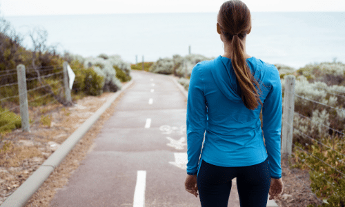 Woman at starting line