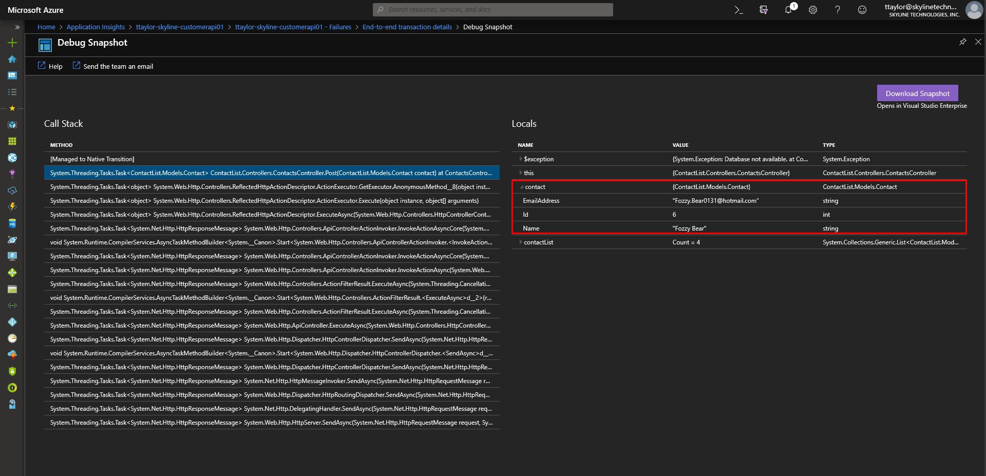 azure snapshot debugger failures