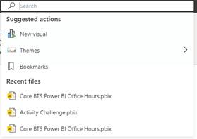 power bi search bar results