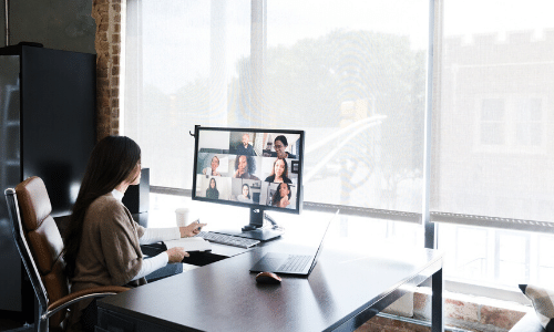 Remote worker on video call